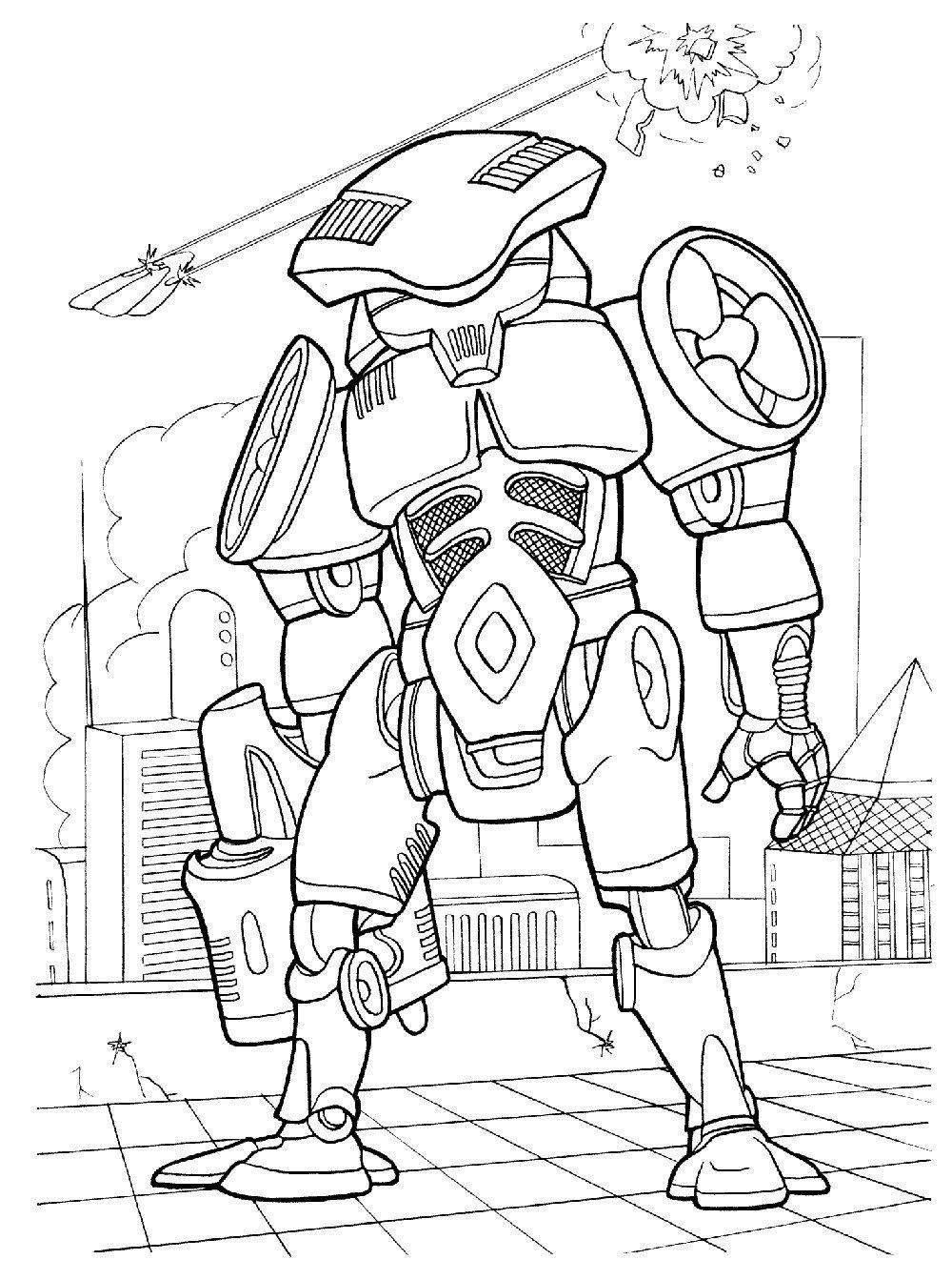 Раскраска Зловещий робот с бластером