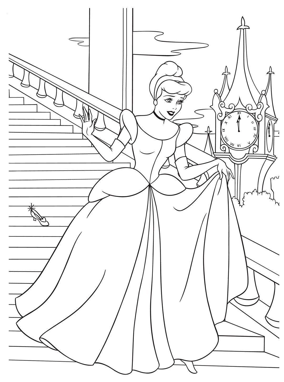 Раскраска Золушка-принцесса убегает с бала