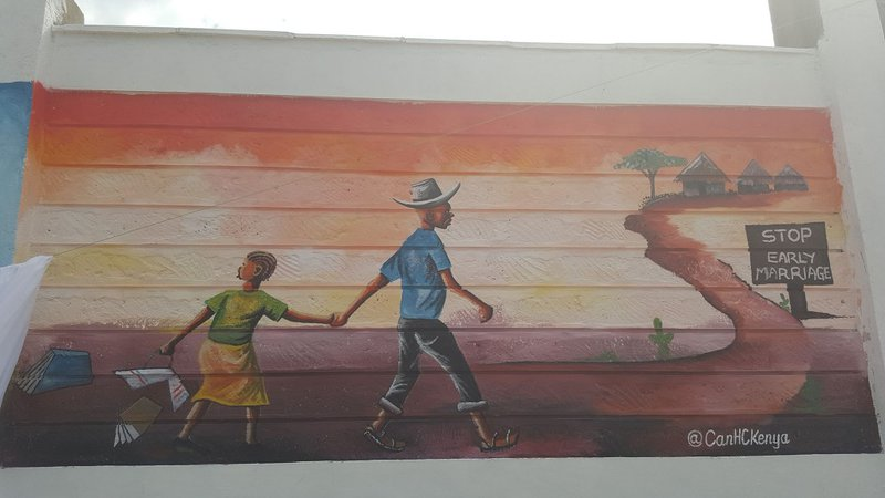 The Canadian Embassy revealed a mural on child marriage as part of their #WallsCanBloom campaign on Day of the African Child   Photo credit: Girls Not Brides