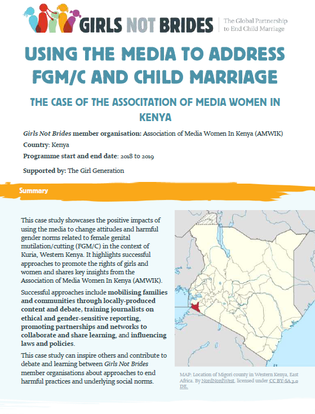 "Cover image for the case study entitled ""Using the media to address FGM/C and child marriage: The case of the Association of Media Women in Kenya"""