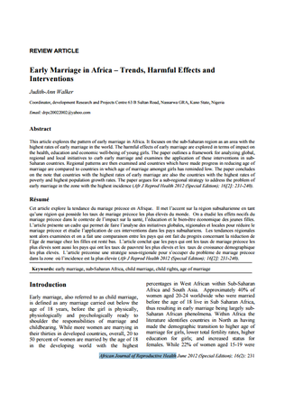 African journal early marriage in Africa trends