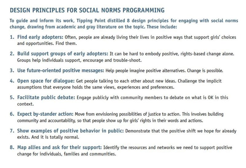 A list of principles for social norms programming: 1. Find early adopters, 2. Build support groups of early adopters, 3. Use future-oriented positive messages, 4. Open space for dialogue, 5. Facilitate public debate, 6. Expect bystander action, 7. Show ex