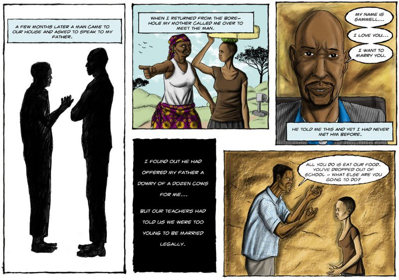 Cash cow is an online graphic novel about child marriage in Tanzania.