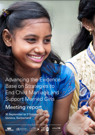 """Front cover of the """"Advancing the evidence base on strategies to end child marriage and support girls"""" meeting report, with an adolescent girl smiling and clapping"""