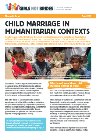Cover of thematic brief on child marriage in humanitarian contexts