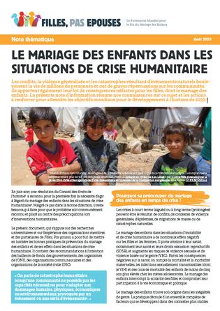 Image note d'information sur le mariage des enfants dans les crises humanitaires