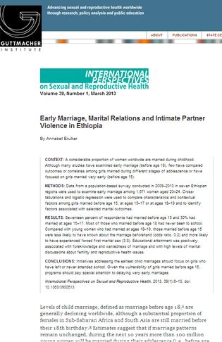 Early marriage in Ethiopia - screenshot