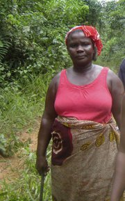 Evelyn Flomo, 32, community activist in her village in Grand Gedeh County, Liberia.