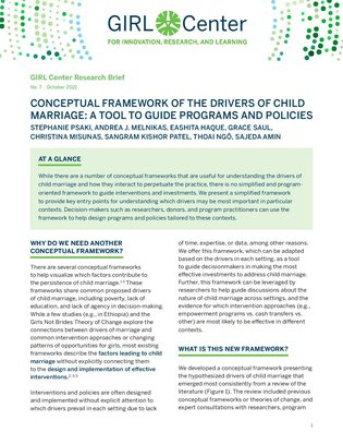 Conceptual Framework of the Drivers of Child Marriage: A Tool to Guide Programs and Policies
