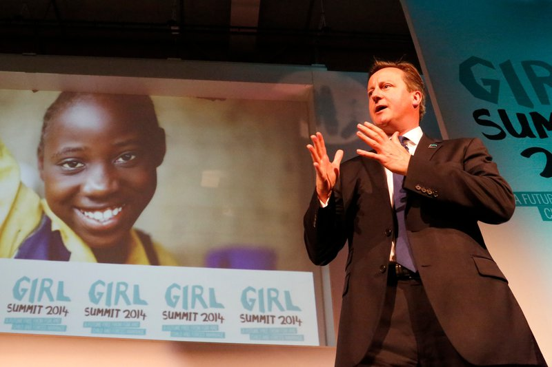 UK Prime Minister David Cameron speaks at the Girl Summit 2014
