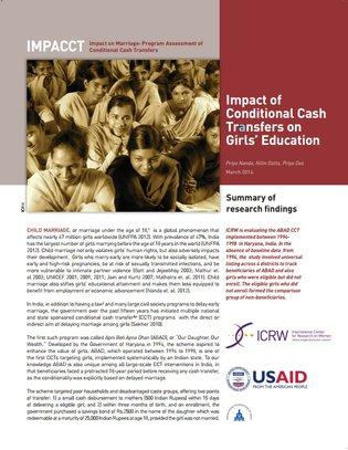 ICRW - Impact of CCT on girls' education