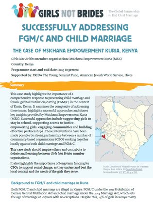 "Cover image for the case study entitled ""Successfully addressing FGM/C and child marriage: The case of Msichana Empowerment Kenya"""