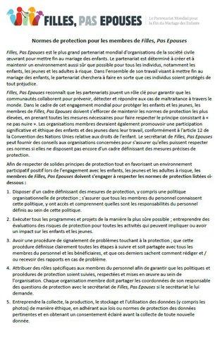 Normes de protection pour les membres de Filles, Pas Epouses