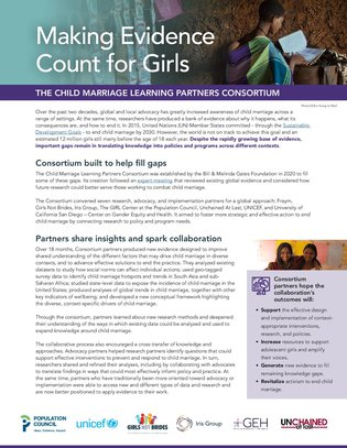Making evidence count for girls: The child marriage learning partners consortium
