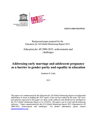 UNESCO ADDRESSING EARLY MARRIAGE