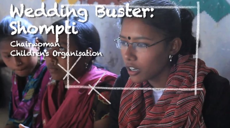 Shompti chairs the wedding busters, a youth group that aims to stop child marriages in Bangladesh