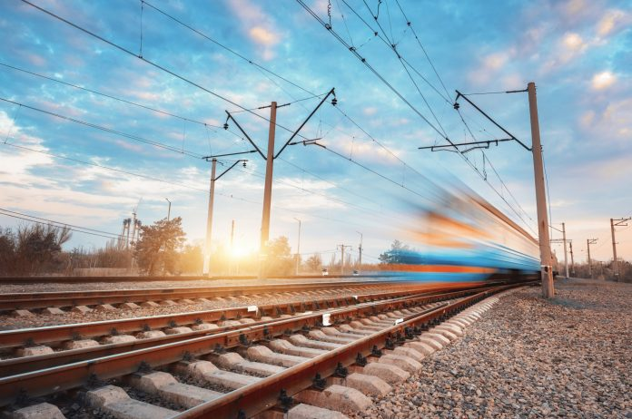 A stock photo of a blurred train in Ukraine. Photo: Den Belitsky.