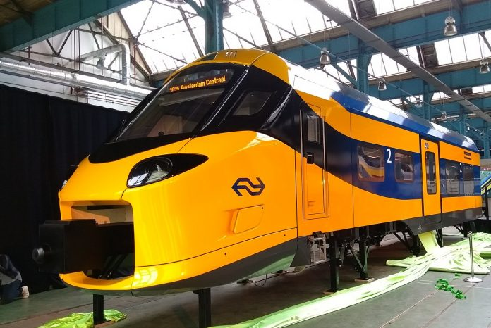 NS unveiled a mock-up of its InterCity New Generation train back in October, 2017. The train is based on Alstom's Coradia Stream platform. Photo: NS.