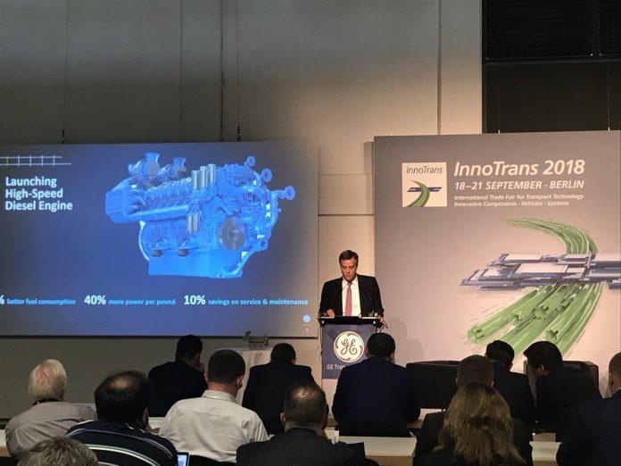 GE Transportation CEO Rafael Santana during a press conference at InnoTrans. Photo: GE Transportation.