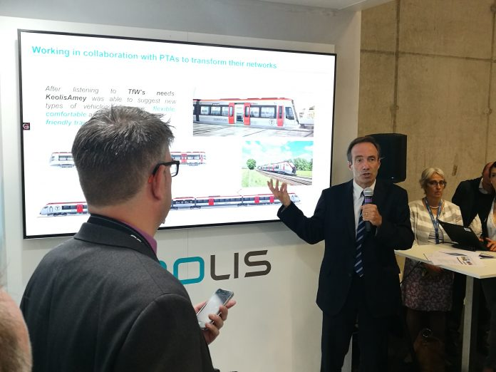 Keolis International CEO Bernard Tabary during a press event at InnoTrans.