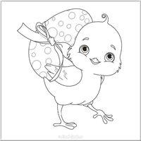 Детская Пасхальная открытка раскраска