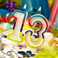 Открытка 13 лет день рождения