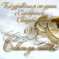 Открытка к серебряной свадьбе