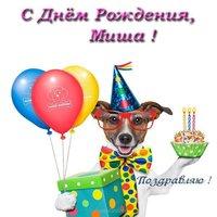 Открытка с днем рождения Миша прикольная