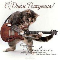 Поздравительная открытка с днем рождения с котами