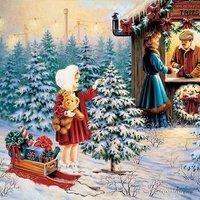 Рождественская открытка рисунок детей