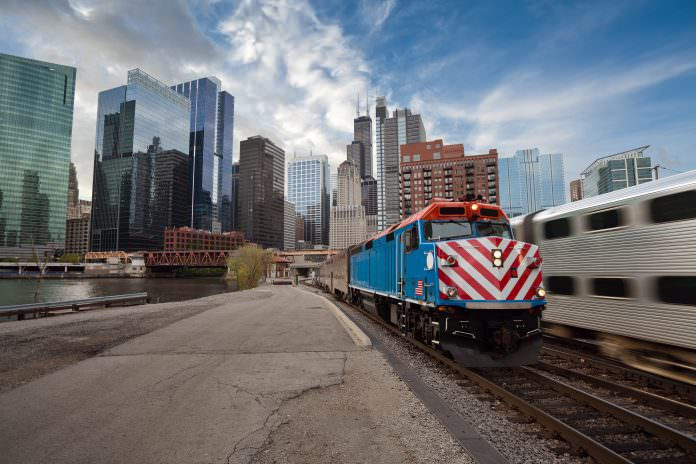 A Metra train arriving from Chicago downtown district. Credit: Rudy Balasko/Shutterstock.