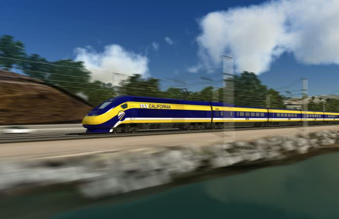 A conceptual view of a high-speed train travelling on the California high-speed rail. Credit: South Bay/Flickr.