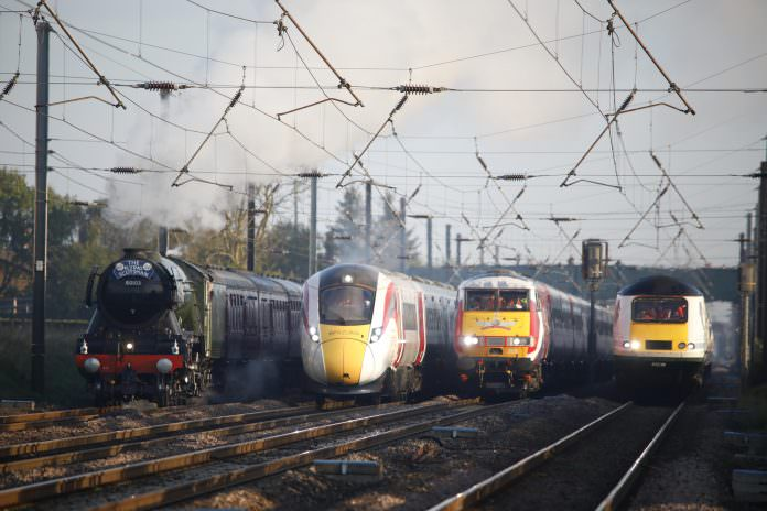 L-R: The Flying Scotsman, Virgin Trains' new Azuma, the Intercity 225 and an HST Intercity 125. Credit: David Parry/PA Wire.