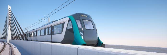 Sydney Metro train on viaduct. Credit: Garrandale Rail.