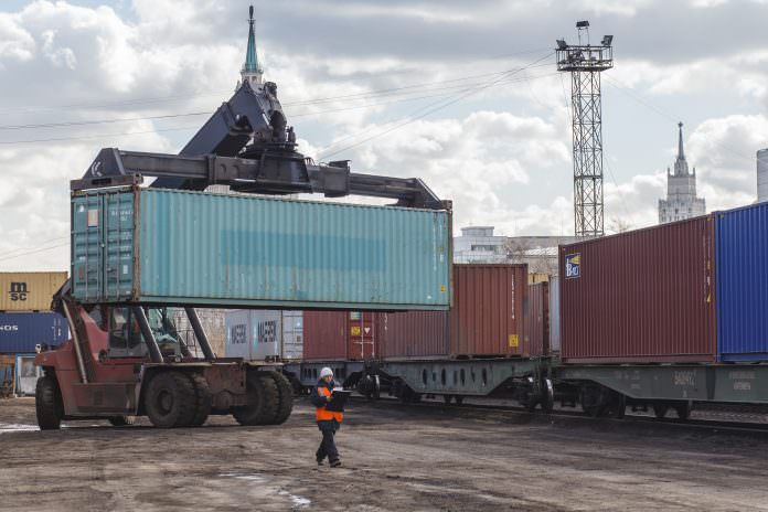 A stock photo of a Transcontainer terminal in Moscow. Credit: Ranglen/Shutterstock.
