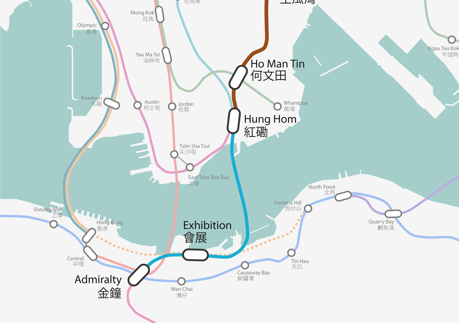 The blue section of the graphic shows where the tunnel is being built in Victoria Harbour. Photo: Assanges.