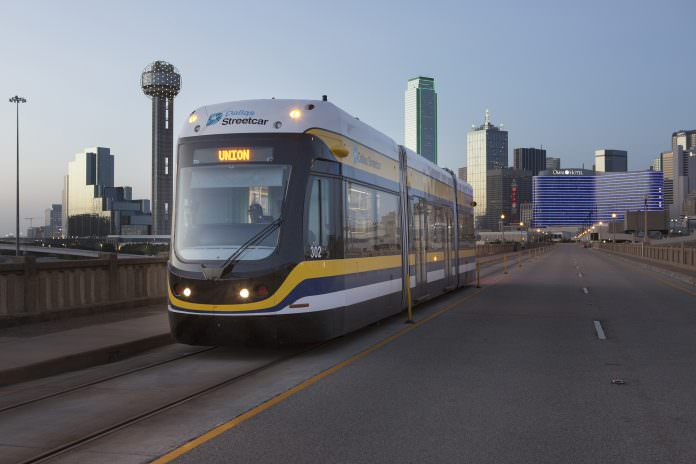 A Brookville Liberty tram on the Dallas Area Rapid Transit system. The vehicles also operate on the QLine in Detroit. Credit: Brookville Equipment Corporation.