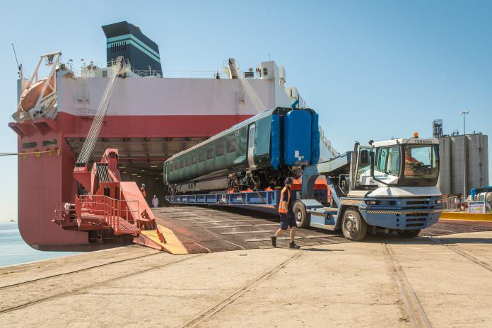 Hitachi train car being offloaded at Southampton port. Credit: Hitachi.