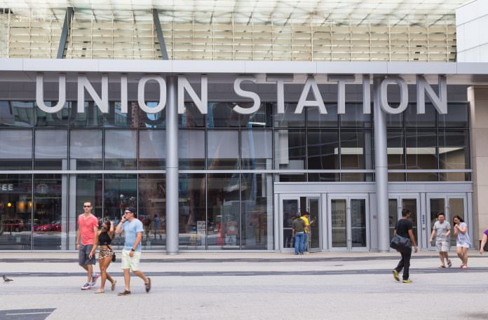 The outside of Union Station in Toronto, Ontario. Credit: Mikecphoto/Shutterstock.