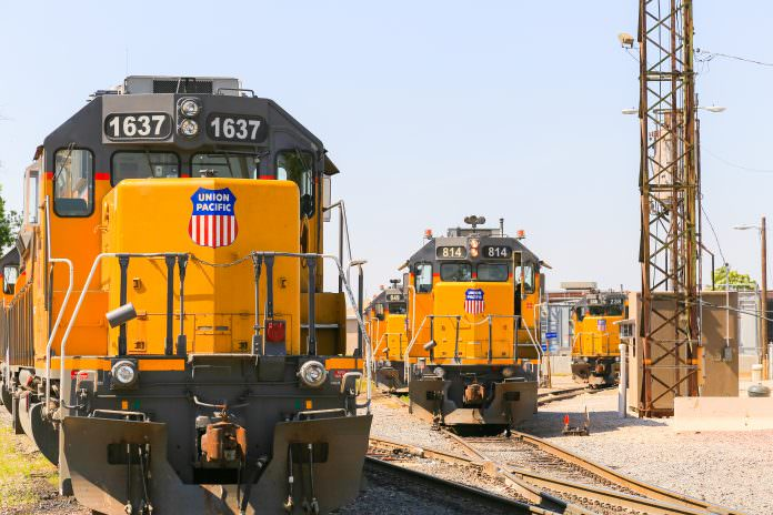 A stock photo of a Union Pacific locomotive. Credit: Michael Rosebrock/Shutterstock.