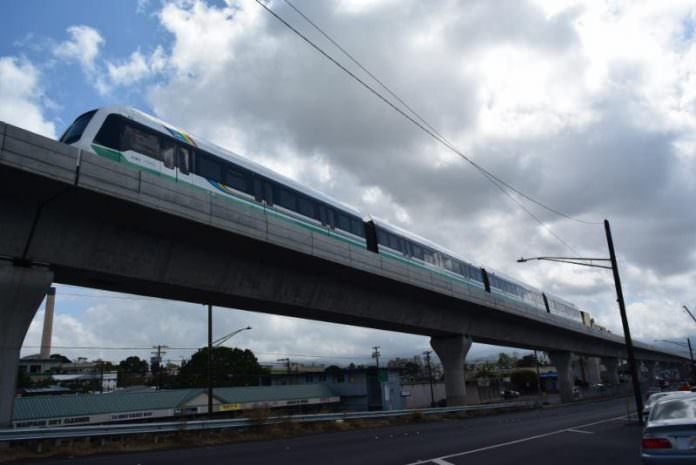 A stock photo of the Honolulu's new urban rail system. Credit: Honolulu Authority for Rapid Transportation.