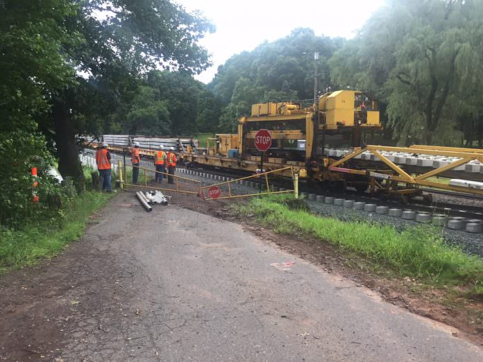 Track construction work in Berlin, New Hampshire. Credit: NHHS Rail.