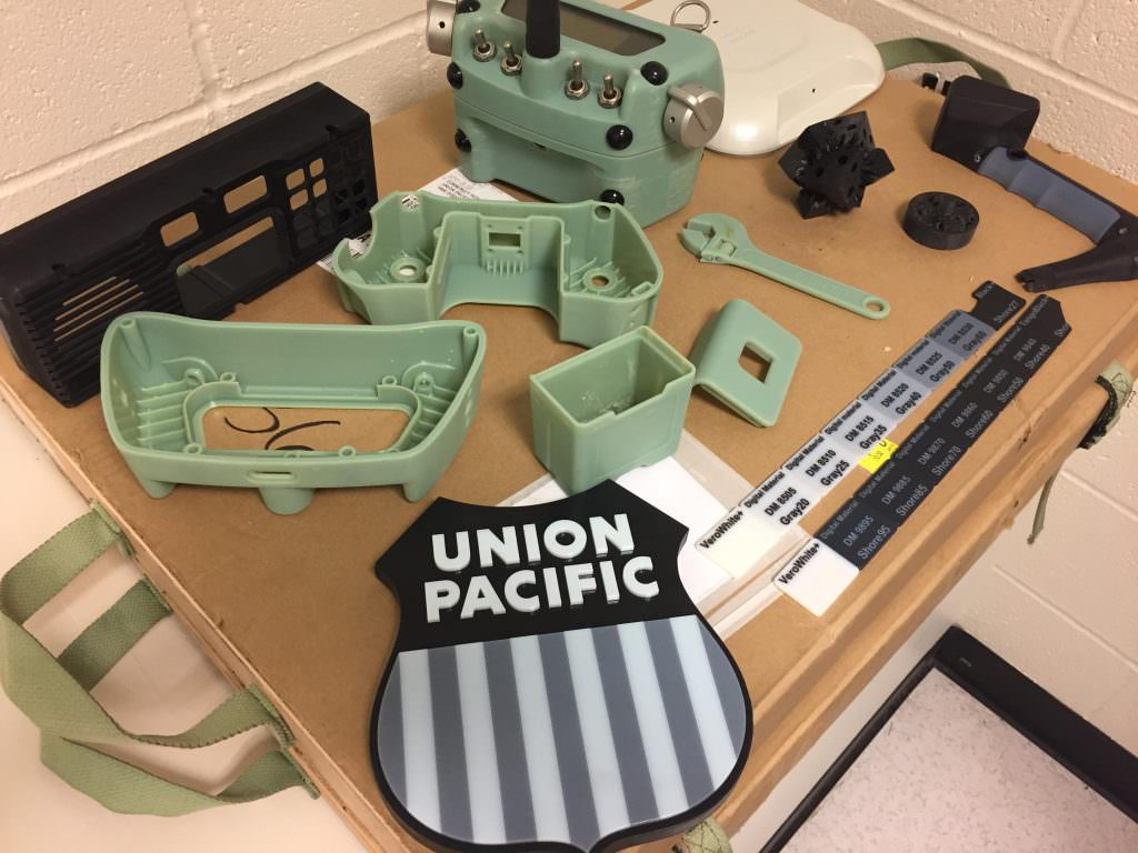 All of these parts were made using a 3D printer. Credit: Union Pacific.