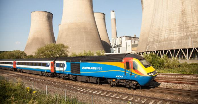 An East Midlands Trains HST passes by East Midlands Parkway. Credit: EMT>