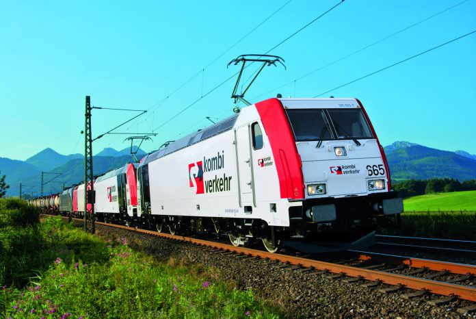 An intermodal Kombiverkehr train at Prien am Chiemsee, Bavaria. Credit: Kombiverkehr.