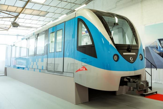 A mockup of one of the Alstom Metropolis trains for the Dubai metro. Credit: Alstom.