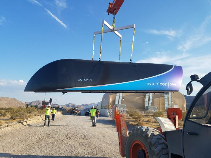A carbon fibre pod designed for the Hyperloop One. Was not used in the May tests. Credit: Hyperloop One.