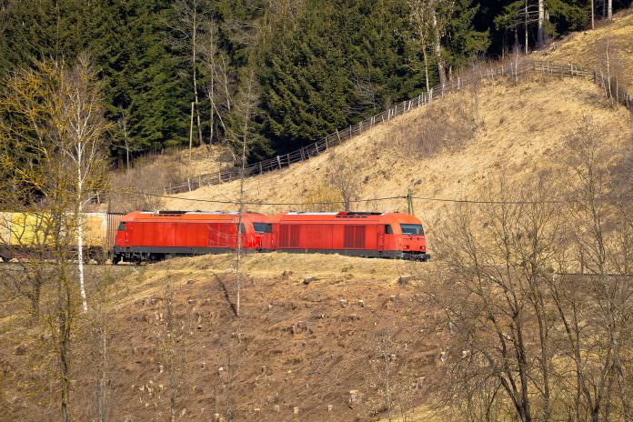 A stock photo of an OBB train passing through Carinthia. Credit: Xbrchx/ Shutterstock.