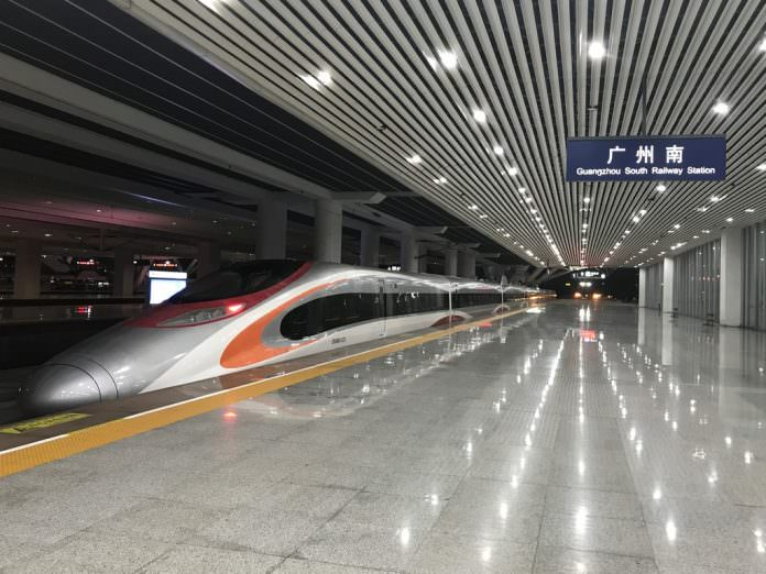 The 3rd XRL train carries out tests on the Guangzhou-Shenzhen section of the XRL. Credit: MTR.