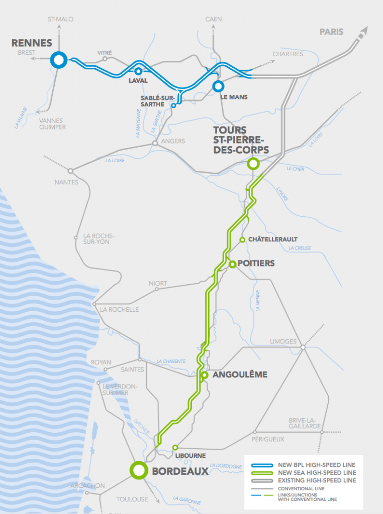 A map of the two new high-speed routes. The LGV Bretagne-Pays de la Loire in blue and the LGV Sud Europe Atlantique in green. Credit: SNCF.